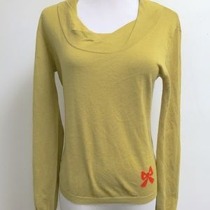 MOSCHINO mustard silk cashmere ribbon sweater 8